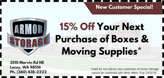 15% off boxes and moving supplies at Armor Storage Lacey, WA
